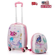 2 PCS Kids Luggage Set 12' Lightweight Backpack and 16' Rolling Suitcase w/Wheel