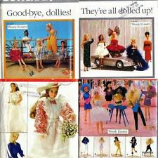 "Lot of 4 Fashion Doll Clothes Butterick Sewing Patterns for 11 1/2"" Dolls"