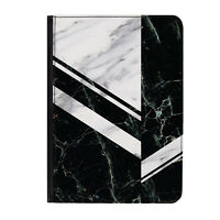"""Black & Grey Zig Zag Marble Universal Tablet 7"""" Leather Flip Case Cover"""