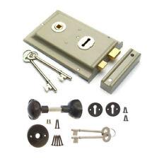 Grey Rim Sash Lock 150 x 102mm with Handles Door Sashlock +Black Knobset +2 Keys