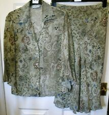 NEW SOLO GREEN & BLUE BLOUSE & SKIRT SUIT OUTFIT SIZE 12 #690