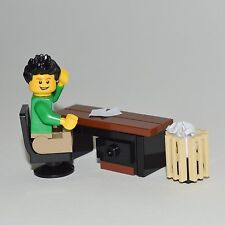 LEGO Furniture: Office Desk Set - w/ Desk & Chair + Waste Basket  [minifig,lot]