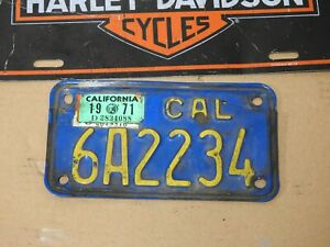 1971 California MOTORCYCLE License Plate