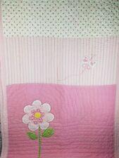 Pottery Barn Kids Crib Toddler Quilt Blanket Pink Stripes Polka Dots