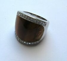 Cubic Zirconia and Tiger eye 925 Sterling Silver Ladies Ring Size O