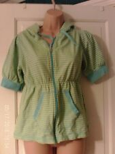 TURQUOISE AND YELLOW SHORT , SLEEVED HOODY, SIZE 12