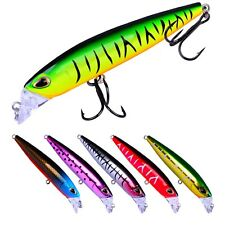 6PCS Fishing Minnow Fish Bass plastic lure hook baits 9.5m/10.4g
