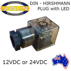 12V 24V DC Hirshmann DIN Solenoid Connector Plug - 3 Pin with LED (ISO 4400)