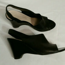 FRANCO SARTO black leather open toe wedge elegant slingback pumps size 6.5
