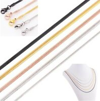 Schlangenkette flach Edelstahl Silber Rose Gelb-Gold Schwarz Anhänger Halskette