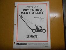 """Homelite 20"""" Turbo Vac Rotary Parts List JA-99018-6 Revision 1"""