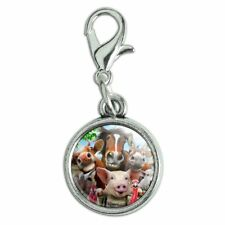 Farm Selfie Horse Pig Chicken Donkey Cow Sheep Bracelet Charm with Lobster Clasp