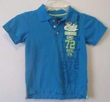 Boys 5 Ecko Unltd Bright Blue Polo Shirt Short Sleeves Lime Green Print EUC