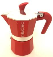 Pedrini Espresso Stove Top Coffee Maker Continental Percolator Single Cup Red