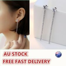 Women Lady 925 Silver Anti-allergy Plastic Pearl long drop Earrings