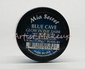 "MIA SECRET NAIL ART ""GLOW IN THE DARK"" ACRYLIC POWDER  6 COLORS -MADE IN USA"
