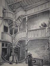 Interieur de maison a Morlaix ROBIDA LITHOGRAPHIE ORIGINALE BRETAGNE 1891