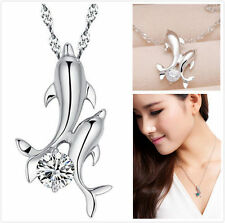 Women Lady Cute Double Dolphin Rhinestone Short Chain Jewelry Pendant Necklace
