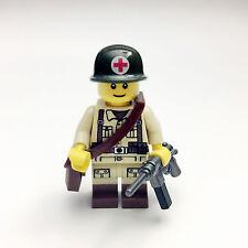 Custom Lego WW2 US Army Minifigure Medic Soldier Free Shipping SNUS06
