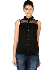 SALE C&A LADIES BLACK SEXY SLEEVELESS CASUAL FORMAL COTTON SHIRT TOP BLOUSE 8-12