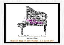 Thank You Teacher Tutor Christmas Piano Gift Personalised Word Art Print PRESENT