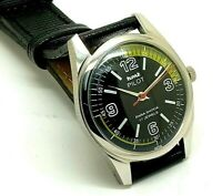 genuine hmt pilot hand winding men steel black dial 17j vintage india watch run