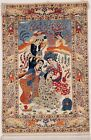 Hand Knotted Ivory Pictorial Hunting Wool Silk Isfahann Oriental Rug 3.5 x 5.3
