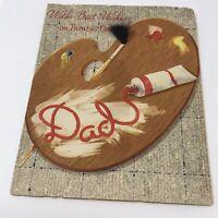 Vintage Happy Birthday Dad Card 1960s Painter Artist Greeting Paper USA