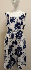 Ladies navy & white floral Simon Jeffrey dress - size 16 (42)