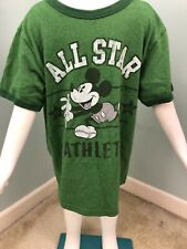 Boys Disney S/S Green Mickey Mouse All Star Graphic Tee T-Shirt Sz Small (5-6)