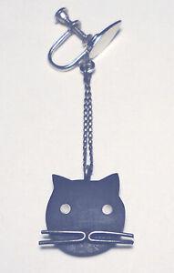 SINGLE Mid Century MODERNIST Sterling 925/Ebony CAT Dangle EARRING Screw back