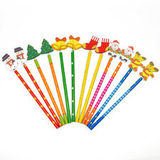 12pcs/set Santa Snowman Tree Bell Wooden Pencils Christmas Gifts For Kids Child