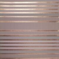 CROWN LUXE MAYFAIR EATON STRIPE WALLPAPER MOCHA / ROSE GOLD M1471 - FEATURE NEW