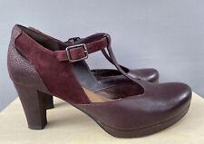 Clarks Burgundy T-Bar Mary Jane Heels Shoes Leather Suede Smart UK 6.5 EU 39