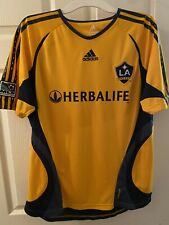 Adidas Clima365 LA Galaxy jersey Herbalife MLS Soccer Men's Size L Yellow & Blue