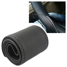 Black PU Leather Car DIY Steering Wheel Cover Wrap Holder + Needles & Thread