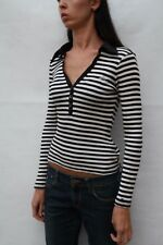 Tommy Hilfiger Striped Cotton Denim Black White SMALL S Nice Top Cotton