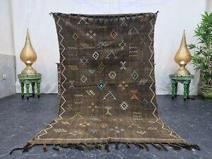 "Moroccan Handmade Cactus Silk Rug 4'x6'4"" Sabra Berber Geometric Faded Brown Rug"
