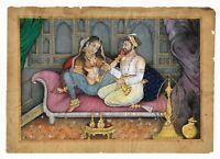 Mughal Miniature Painting Emperor Shah-Jahan And Mumtaz Mahal Erotic Love Scene