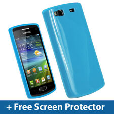 Blue Glossy TPU Gel Case for Samsung Wave 3 Bada S8600 GT-8600 Skin Cover Holder