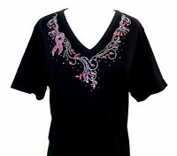 PLUS 2X Hand Embellished Iridescent Rhinestone Pink Breast Cancer Awareness Top