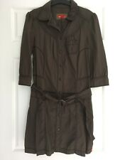 WOMENS, ESPRIT, COTTON CARGO STYLE DRESS, SIZE 40, BROWN, 3/4 SLEEVE BELT #1368