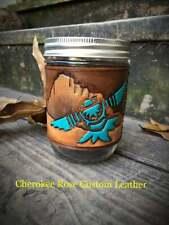 Hand Painted Mason Jar Sleeve, Southwestern Design, Thunderbird, Turquoise