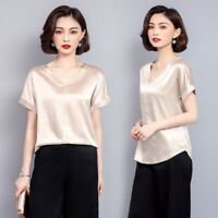Lady Satin Shirt V Neck Casual Soft Short Sleeve Loose Soft Blouse Pullover