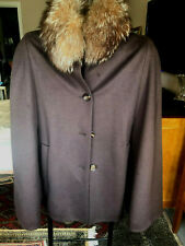 Escada - Real Fox Trimmed Cape Coat Size M Chocolate Brown Wool/Cashmere/Angora