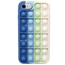 Pop Fidget Toy Soft Tpu Silicone Case Cover For iPhone 8/Se(2020) - Blue / White