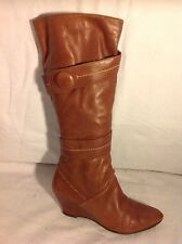 Oasis Brown Knee High Leather Boots Size 38