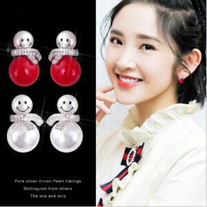 Snowman Earrings with Exquisite Red / White Pearl Jewellery for Women Gift Xmas