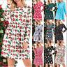 Women Casual Long Sleeve Christmas Dress  Pocket Crew Neck Swing Mini Xmas Dress