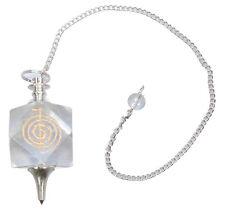 Pendel Edelstein bergkristall mit Kette Wahrsagen Orakel Esoterik Reiki spirale